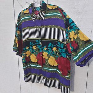 Vintage Oversized Blouse Multicolored Print Top